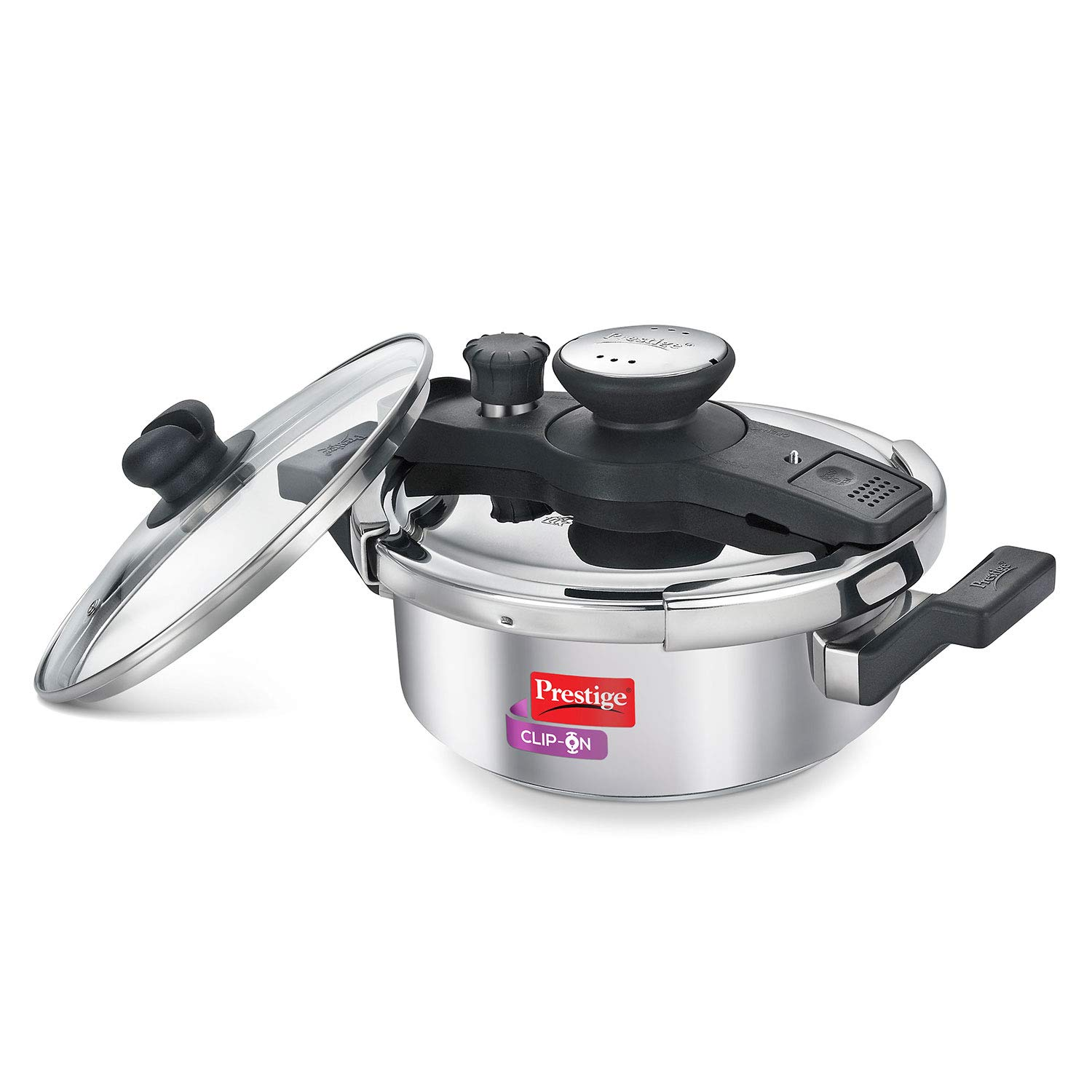 Prestige Clip-on Stainless Steel Pressure Cooker, Cook And Serve Pot with Extra Glass Lid, 3 Liters