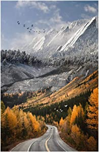 Nature Scenery Canvas Painting Mountain Road Landscape and Poster for Bedroom Home Decor 40x70cm(15.7''x27.5'') Framed