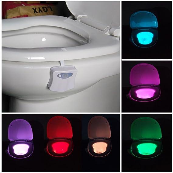 Inodoro iluminación de inodoro Luz nocturna LED Lámpara batería Alimentado por baño Motion Sensor de luz Iluminación de inodoro baño Luz batería 8 colores ...