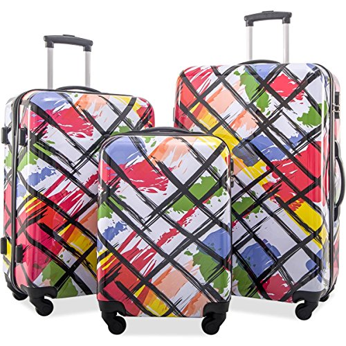 Flieks Graphic Print Luggage Set 3 Piece ABS + PC Spinner Travel Suitcase (Watercolor Painting) ()