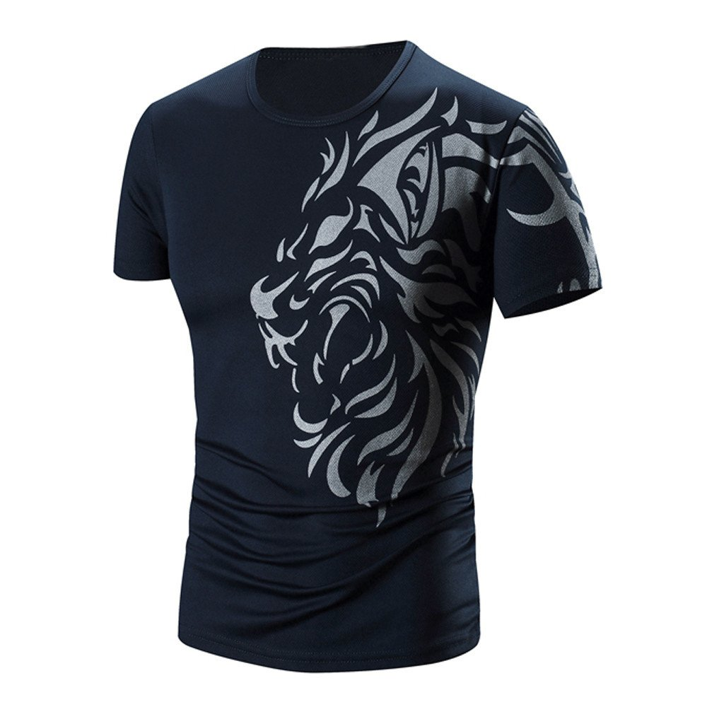 PASATO Men Summer Round Neck Tee Printing Men's Short-sleeved T-shirt Top Blouse(Navy,XXL=US:XL)