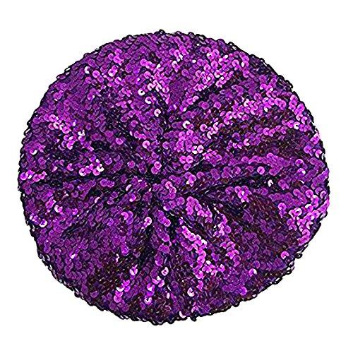 L'VOW Women's Sparkle Sequins Stretch Beret Beanie Hat (Purple)