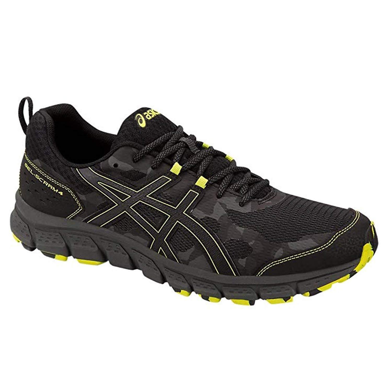 ASICS Mens Gel-Scram 4 Running Shoes Black/Neon Lime 8
