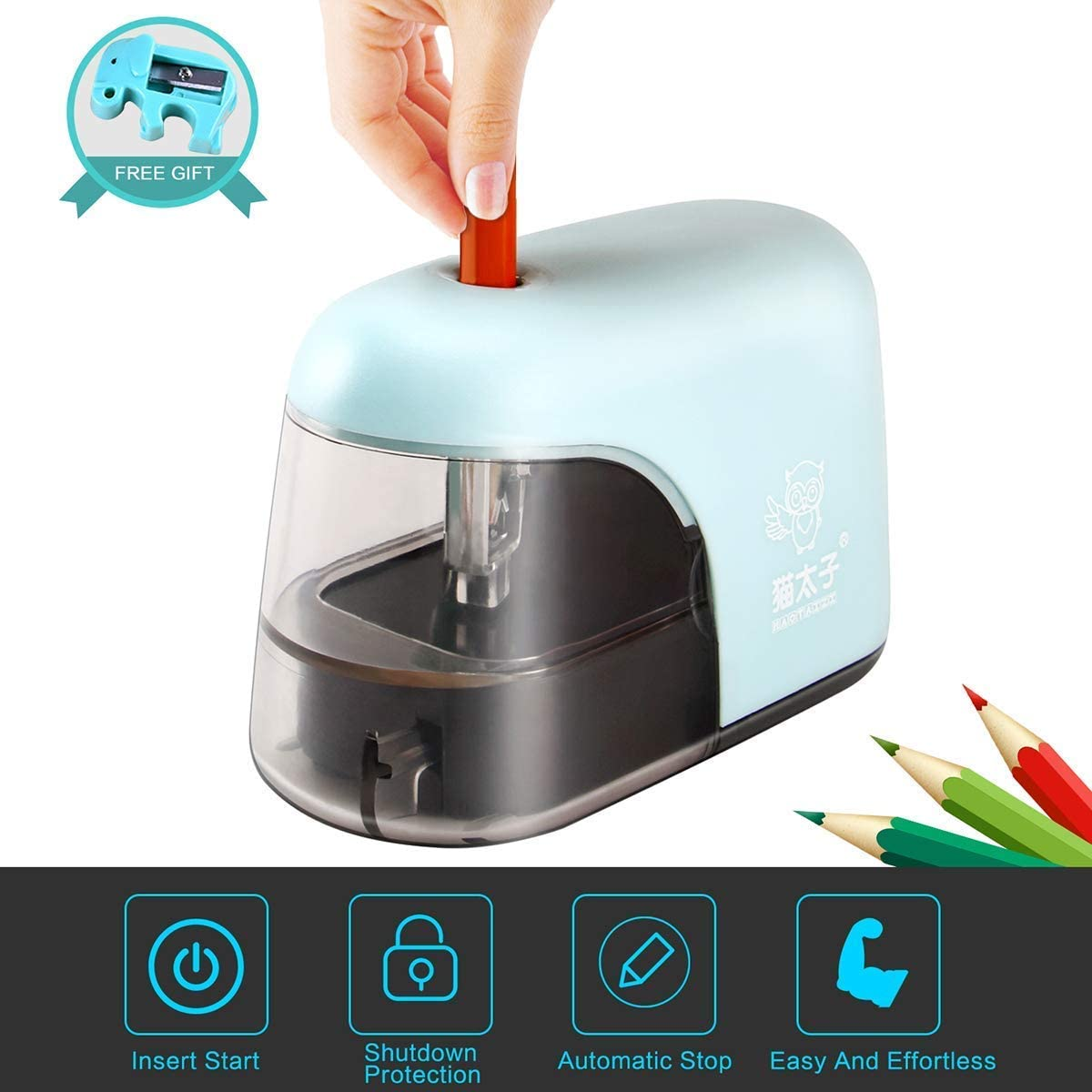 Pencil Sharpener Mini Electric Portable Pencil Sharpener Quiet Small Fast Sharpen Suitable for Students Artists Offices