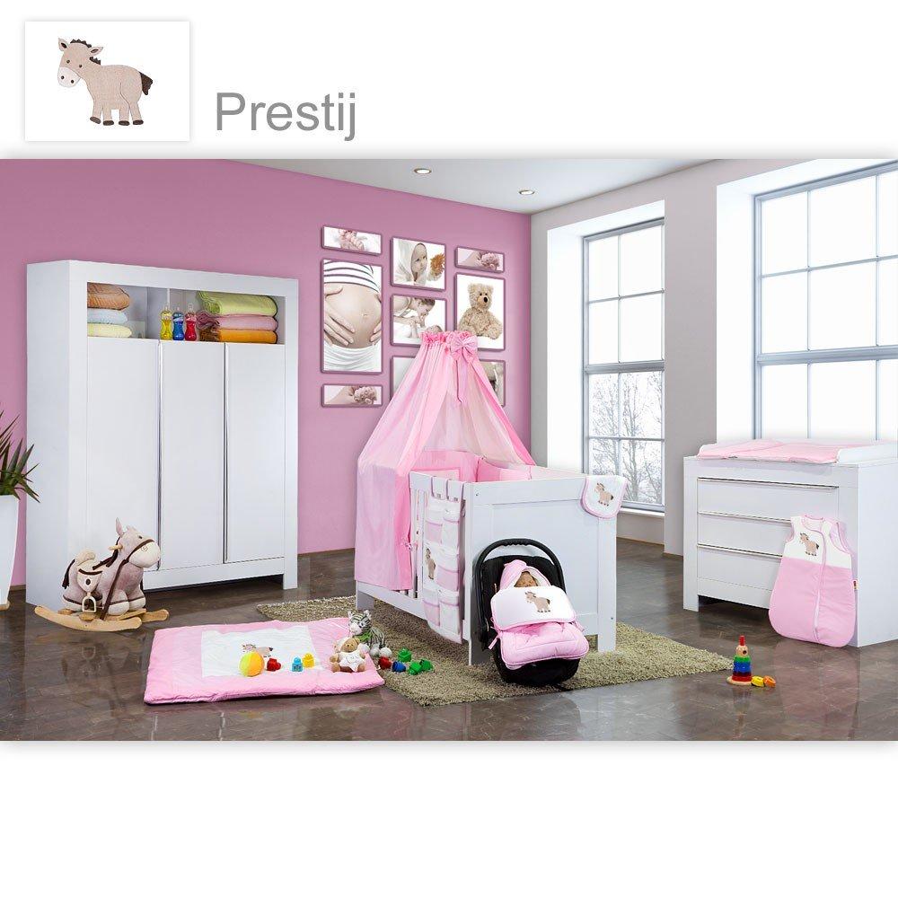 Babyzimmer Felix in weiss 19 tlg. mit 3 türigem Kl + Prestij in rosa