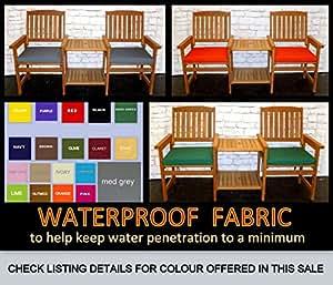 2x gran silla cojines, color gris–50cm x 44cm x 5cm–Tejido impermeable–Zippy–Asiento Almohadillas para hogar y muebles de jardín