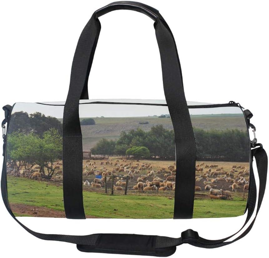 Round Sheep In Pen Gym Duffle Bag Drum tote Fitness Shoulder Handbag Messenger Bags