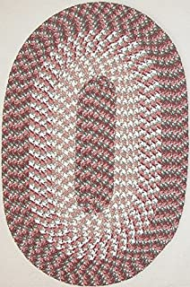 "product image for Hometown 7'4"" x 9'4"" (88"" x 112"") Oval Braided Rug in Light Rose"