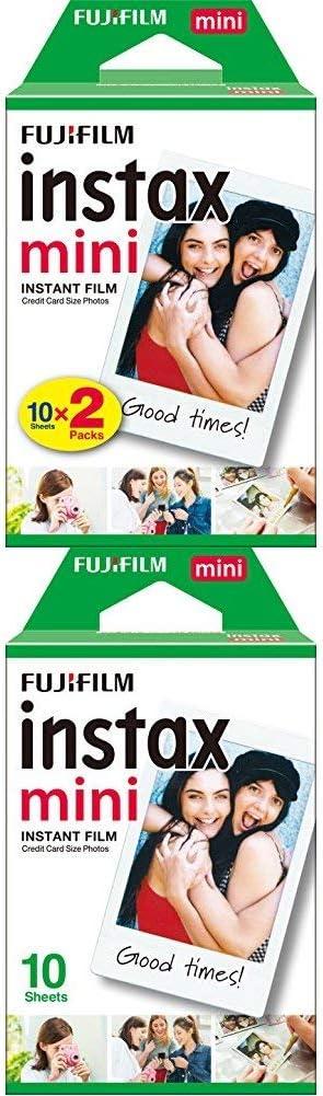 Fujifilm Instax Mini Brillo - Pack de 30 películas fotográficas Instantáneas (3 x10 hojas), color blanco