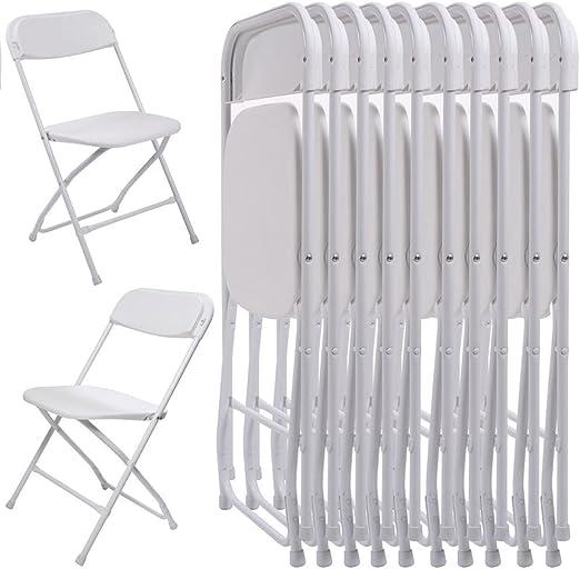 10 sillas Plegables de plástico Blanco apilables para Fiestas de ...