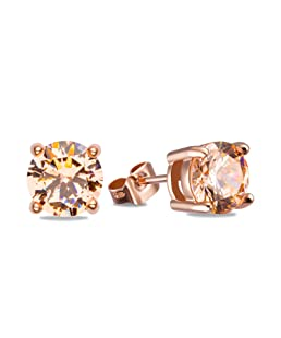 OREOLLE 18K Rose Gold Plated Tone Champagne Round Clear Cut Cubic Zirconia Stud Earrings