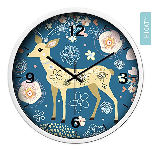 BYLE Non Ticking Battery Operated Decorative Creative Fashion Cute Camouflage Small Deer Bedroom Living Room Electronic Quartz Clock Home Decor Wall Clock, 14 Inch,Cg033 Black Pin Platinum -