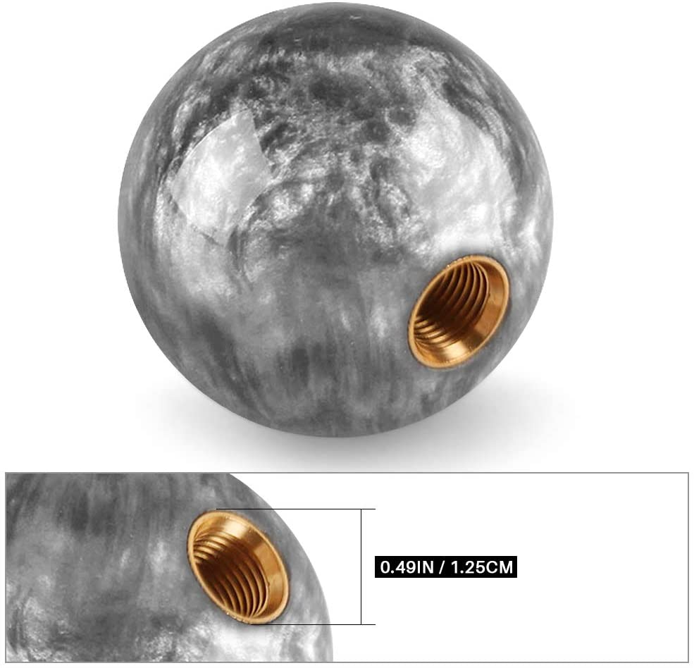 Weighted Ball Gear Shifter Shift Knob with Aluminum Adapter 12x1.25mm Universal Shift Knob Shifter Adapter for Non Threaded Shift Knob Automatic Shift Knob Round Manual Gear Shifter Knobs