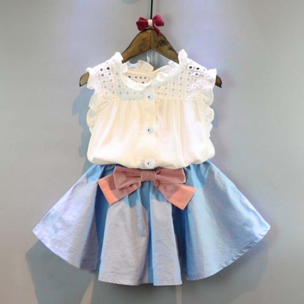 Bowknot Jupe Courte Ensemble Robe de Princesse Fille,Manadlian 2PCS B/éb/é Filles Outfit V/êtements Gilet T-Shirt