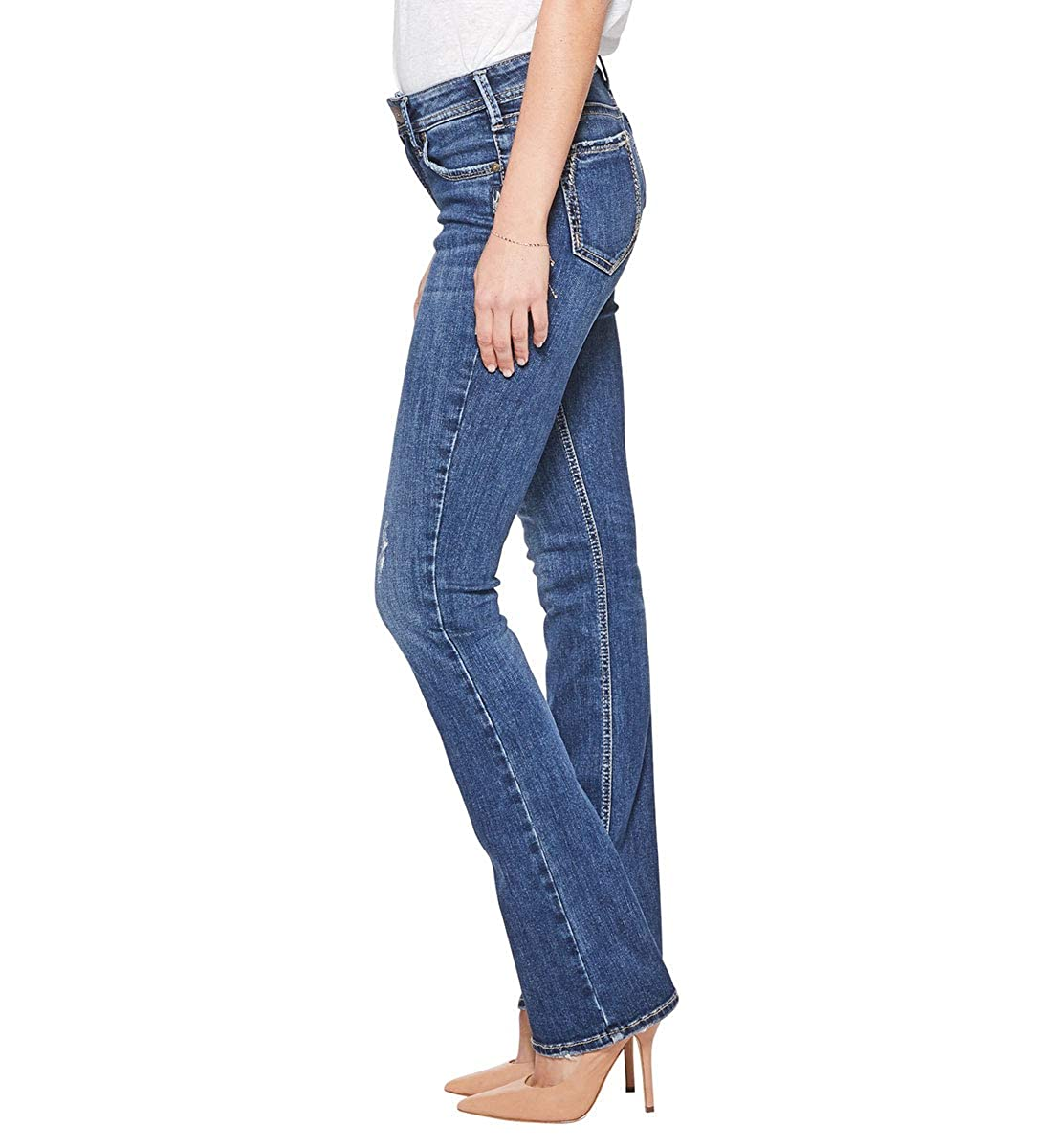 Womens Elyse Relaxed Mid-Rise Slim Bootcut Silver Jeans Co