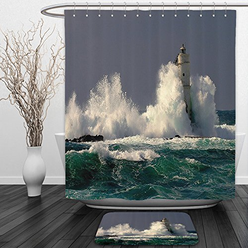 Vipsung Shower Curtain And Ground MatLighthouse Decor Collection Lighthouse in Sardinia Italy Splashing Surfing Travel Locations Landmark Image Teal Blue GrayShower Curtain Set with Bath Mats Rugs - Echo Sardinia Curtains