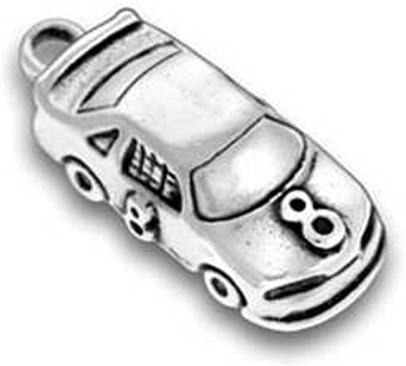 Sterling Silver 3D Mark Martins #6 Nascar Race Car Sports Dangle Charm Bead For Bead Charm Bracelet