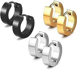 18k Gold Silver Black 4MM Stainless Steel Huggie Hoop Sleeper Earrings