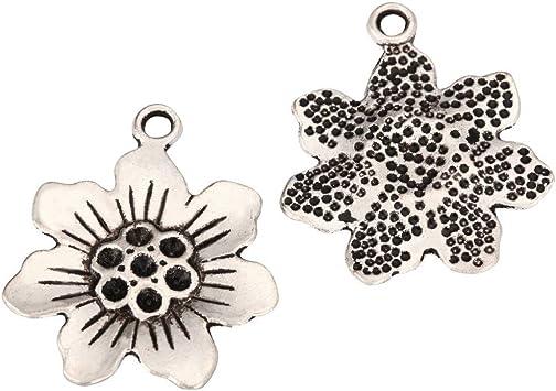 Silver tone Metal Craft Jewellery 15 x 22mm Star Pattern Charms Pendants