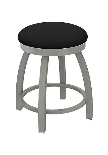 Holland Bar Stool Co. Misha Swivel Vanity Stool, 18 Seat Height, Black Vinyl