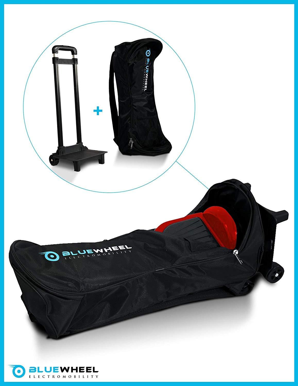Mochila con carrito para el Hoverboard de Bluewheel CASE 6.5 / CASE 10, mochila con 2 ruedas, 2 almohadillas para la espalda, asa y bolsa de red, ...