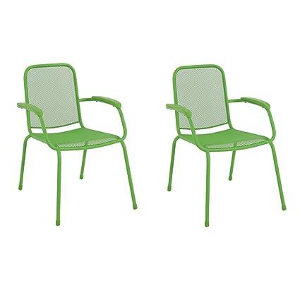 Royal Garden Milo Mesh Outdoor Patio Deck Stacking Arm Chair, Set Of 2,  Steel
