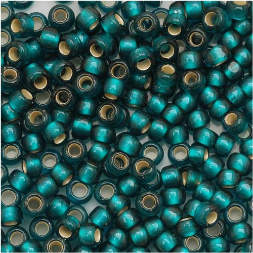 Toho Round Seed Beads 8/0#27BDF 'Silver Lined Frosted Teal' 8 Gram Tube
