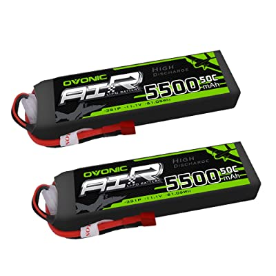 Ovonic 5500mAh 3S 11.1V 50C Lipo Battery with T Plug for DJI F450 Quadcopter Airplane Helicopter Car Truck Boat Hobby (2 Packs): Home Audio & Theater [5Bkhe0803787]