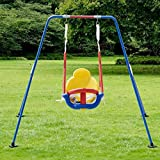 K&A Company Frame Kids 3n1 Toddler Swing Set Children Fun Play Chair Backyard Outdoor Costway Metal Safety Garden Toy Safe Kid
