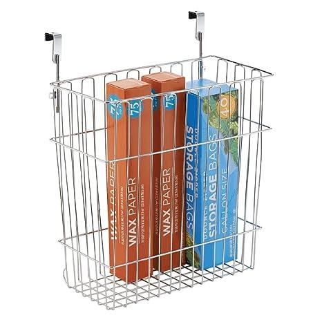 MDesign Hanging Over Door Kitchen Storage Organizer Basket/Trash Can    Hangs Over Cabinet Doors