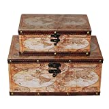 MODE HOME Old World Map Decorative Wooden Storage Boxes Manly Gift Boxes Set of 2