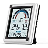 Digital Indoor Temperature and Humidity Meter, Room Hygrometer Upgrade Thermometer Humidity Meter,Touch Screen and Backlight With Time&Alarm Function and with Magnet for Wall