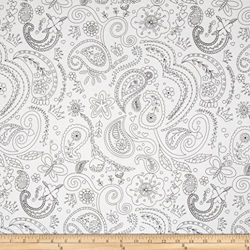 Black White Paisley Fabric - 6