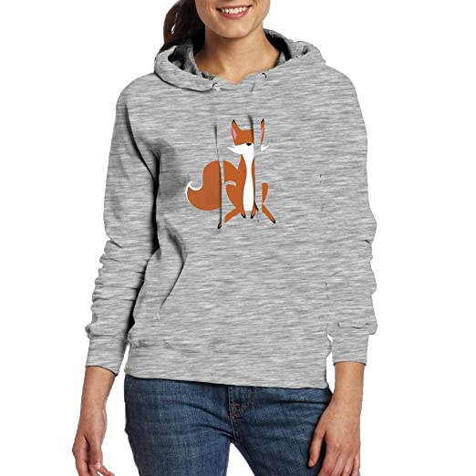 Cartoon Fox Hoodie Pullover Sweatshirt with Pocket for Womens