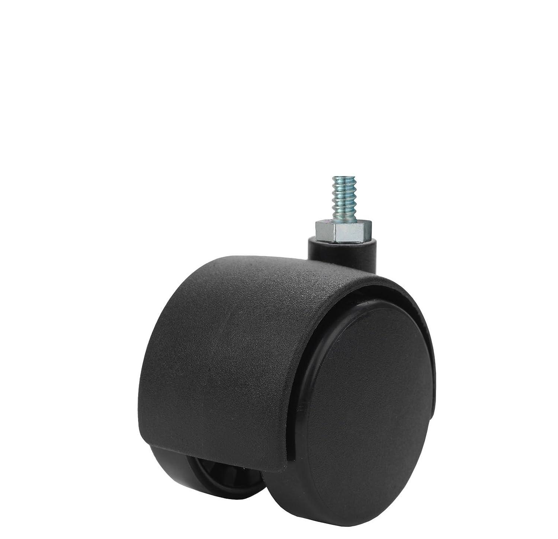 Twin Wheel Caster Solutions TWHN-40N-M10-BK 1.57' Diameter Nylon Wheel Hooded Non-Brake Caster, 6 mm Diameter x 12 mm Length Threaded Stem, 67 lb Capacity Range