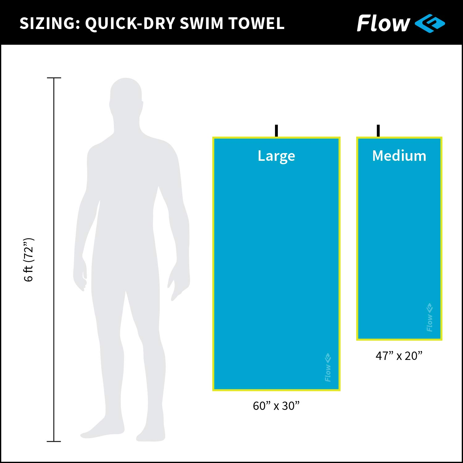 Blue, Purple, Gray Flow Quick Dry Swim Towel for Competitive Swimming Available in 2 Sizes and 3 Colors