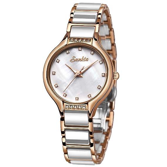 Relojes Las Mujeres SUNKTA Señorita Reloj Cuarzo Moda Ocio Impermeable Cerámica Reloj Las Mujeres Acero Inoxidable Oro Rosa Blanco Mirar …