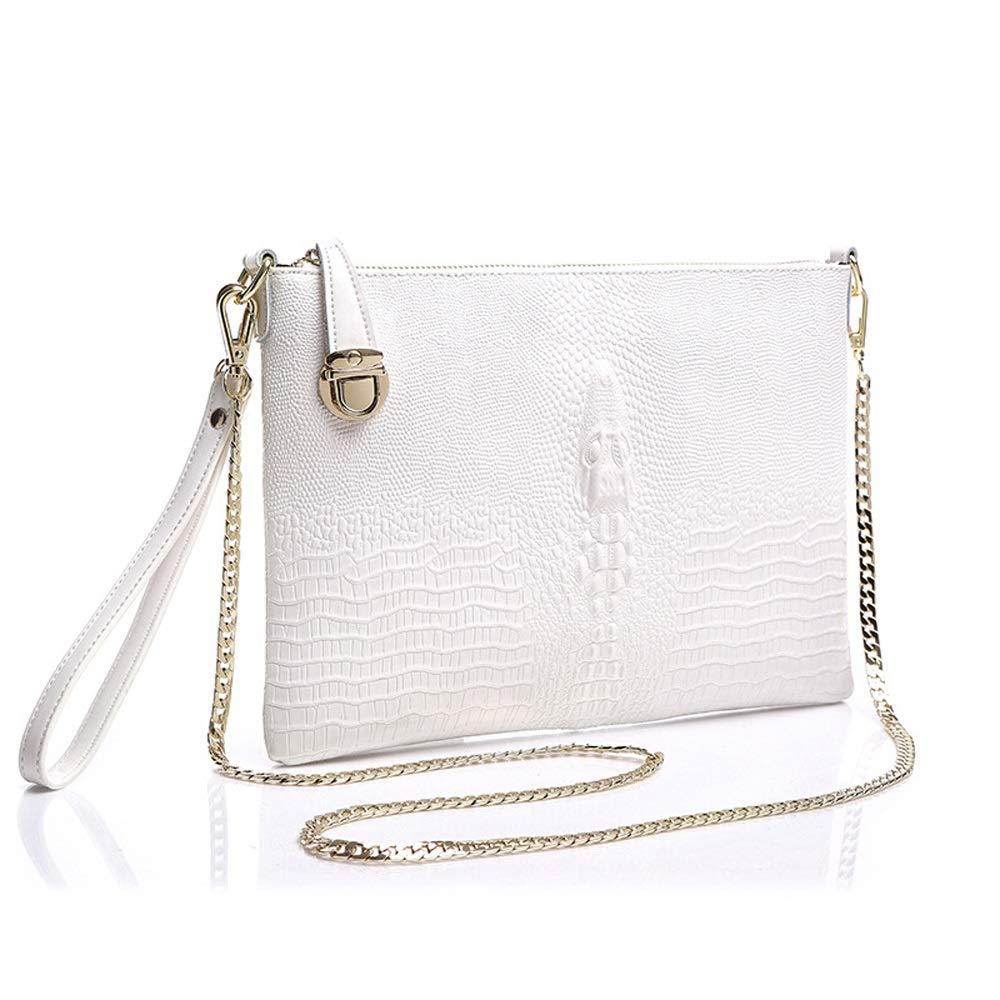 Color : White Womens Bag Clutch Bag European and American Leather Shoulder Diagonal Package Backpack YONGMEI Handbag