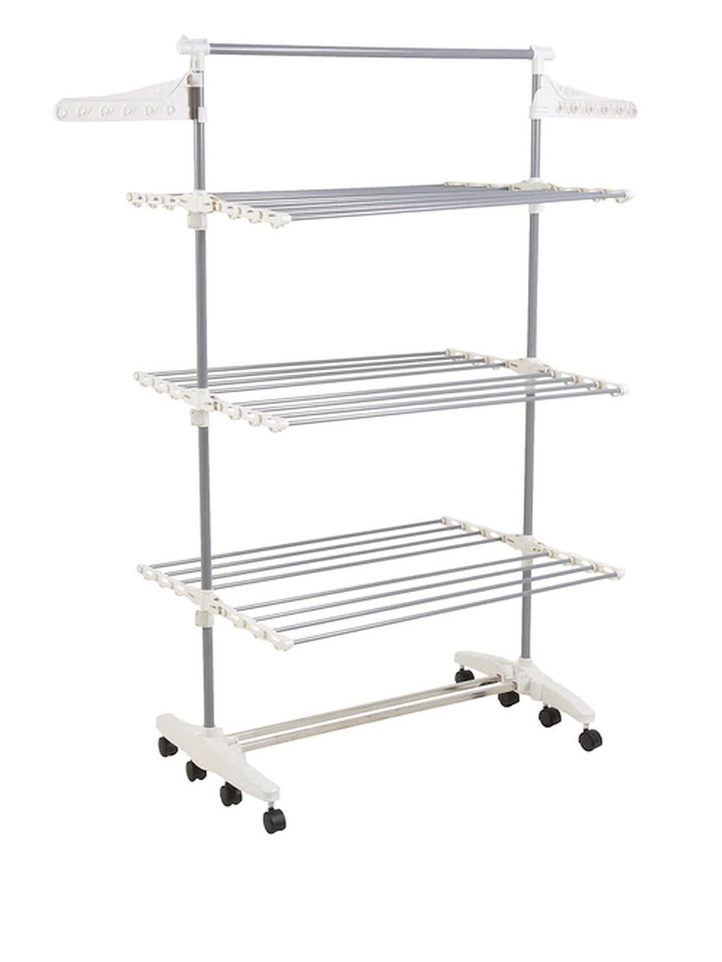 8 Transitions Stainless Rolling Steel Clothes Drying Rack, Dimensions 27Lx58.5Wx60H