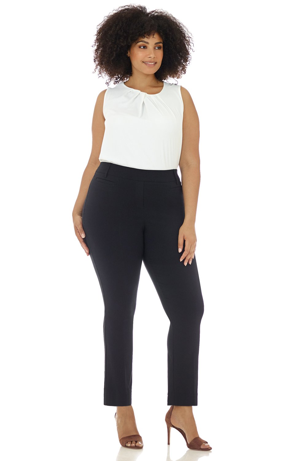 Rekucci Curvy Woman Ease in to Comfort Straight Leg Plus Size Pant w/Tummy Control (16WSHORT,Black)