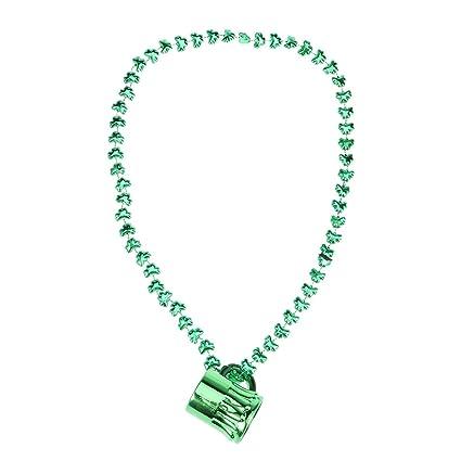 74bb56575bdf Amosfun Taza del día de San Patricio Collar de Cuentas Colgante de plástico  Colgante Tréboles Collares
