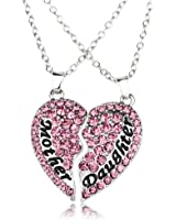 """Mothers Day Gifts From Daughter Jewelry,Necklace Pendant Mother Daughter Heart,19.5"""" Sold as Pair Pink"""