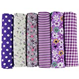 UOOOM 6pcs 50 x 50cm Patchwork Cotton Fabric DIY Handmade Sewing Quilting Fabric Different Designs (Tone-Purple)