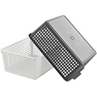 Vcansay 14 Litre Large Plastic Storage Baskets, White and Grey, 2 Packs