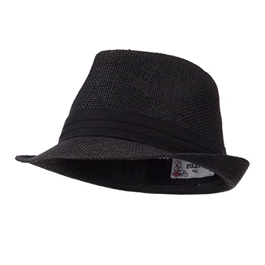 Pleated Hat Band Straw Fedora Hat - Black OSFM at Amazon Men s ... bcd304b30570
