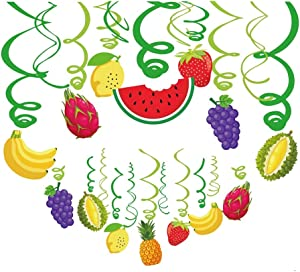 Kristin Paradise 30Ct Tutti Frutti Hanging Swirl Decorations, Tropical Fruit Party Supplies, Summer Birthday Theme, Luau Kids Decor for First 1st Boys Girls Baby Shower, Twotti Fruity Favors Set