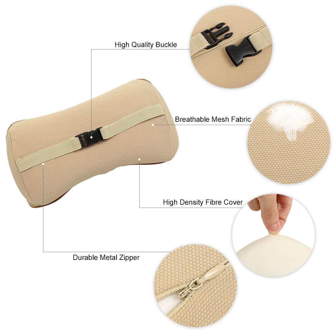 X AUTOHAUX Car Seat Lumbar Support Cushion and Headrests Neck Pillow Set Memory Foam Black