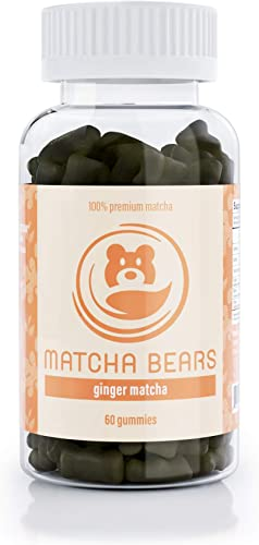 Matcha Bears Ginger Infused Matcha Gummy Vitamin Antioxidant Supplement, Made with 100 Premium Green Tea Matcha Powder 60 Gummies 1 Pack