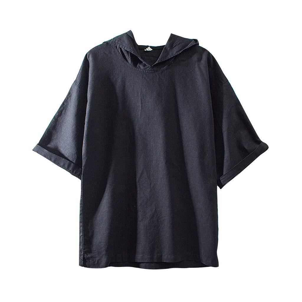 Jumaocio Mens Cotton Linen Henley Shirt Casual Solid Color Short Sleeve