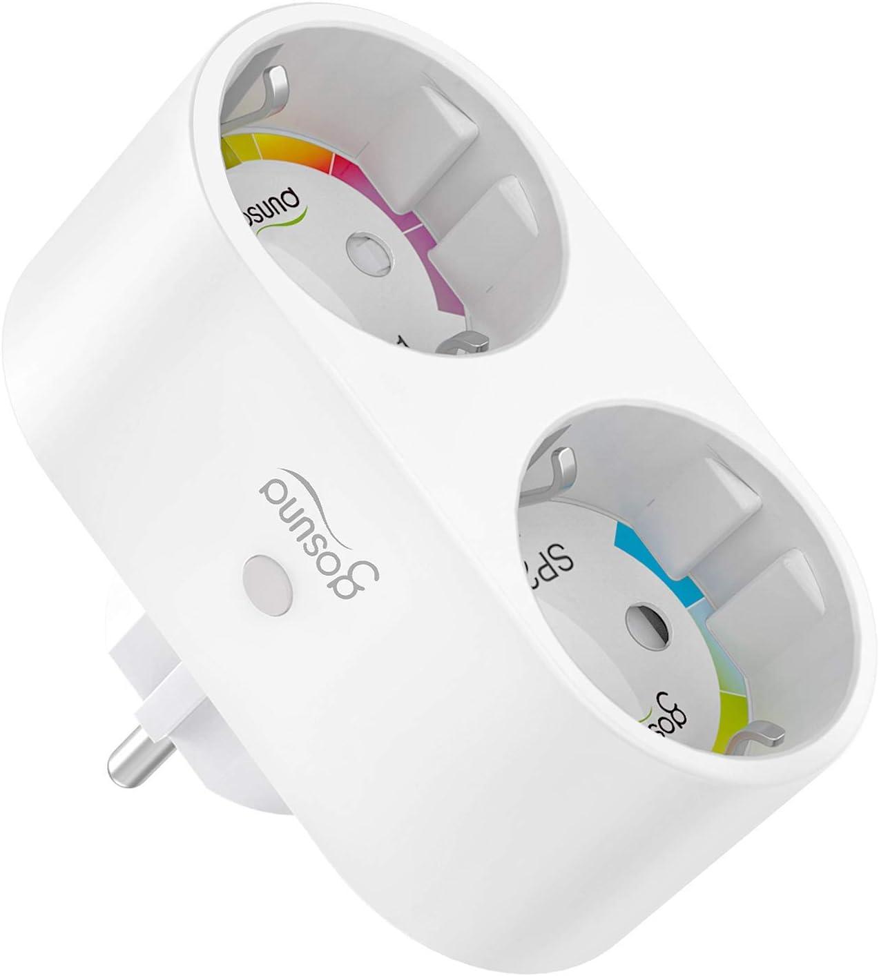 Enchufe Inteligente Wifi con 2 Toma Controlar Individual, Gosund Diseño 2-1 Smart Plug, Compatible con Alexa/Google Home, Monitor de Energía, Control Remoto, Temporizador, Enchufe Doble con Botón
